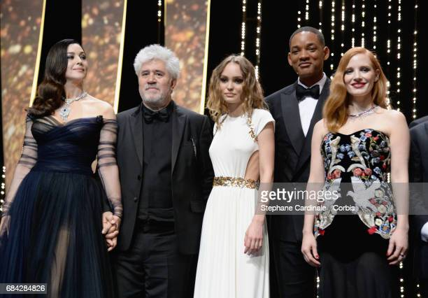 Actor Monica Bellucci President of the jury Pedro Almodovar actor LilyRose Depp and jury members Will Smith and Jessica Chastain attend the 'Ismael's...
