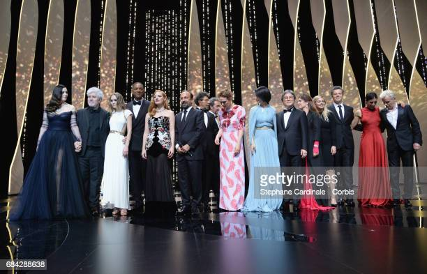 Actor Monica Bellucci President of the jury Pedro Almodovar actor LilyRose Depp and jury members Will Smith Jessica Chastain and Asghar Farhadi Paolo...