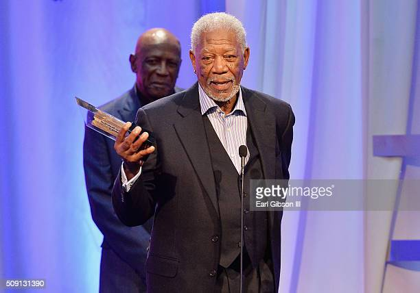 Actor Morgan Freeman accepts the Best Grownup Love Story award for '5 Flights Up' onstage at the AARP's 15th Annual Movies For Grownups Awards at the...