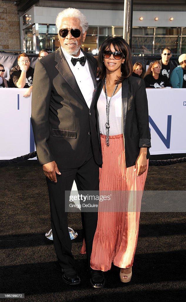 Actor Morgan Freeman and daughter Morgana Freeman arrive at the Los Angeles premiere of 'Oblivion' at Dolby Theatre on April 10, 2013 in Hollywood, California.