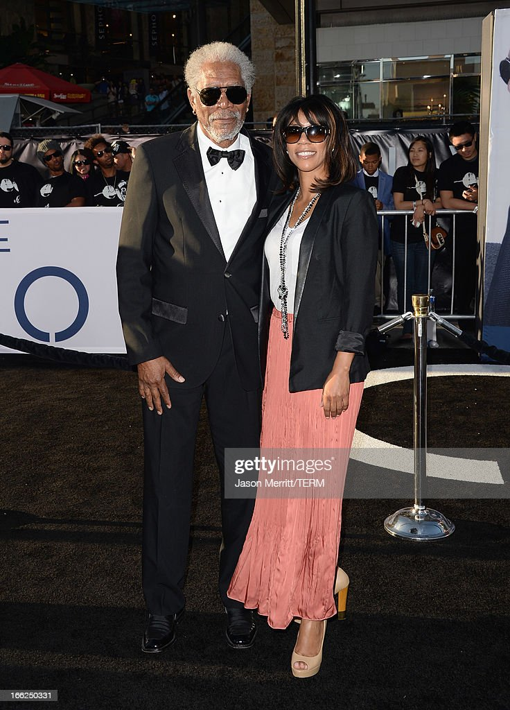 Actor Morgan Freeman and daughter Morgana Freeman arrive at the premiere of Universal Pictures' 'Oblivion' at Dolby Theatre on April 10, 2013 in Hollywood, California.