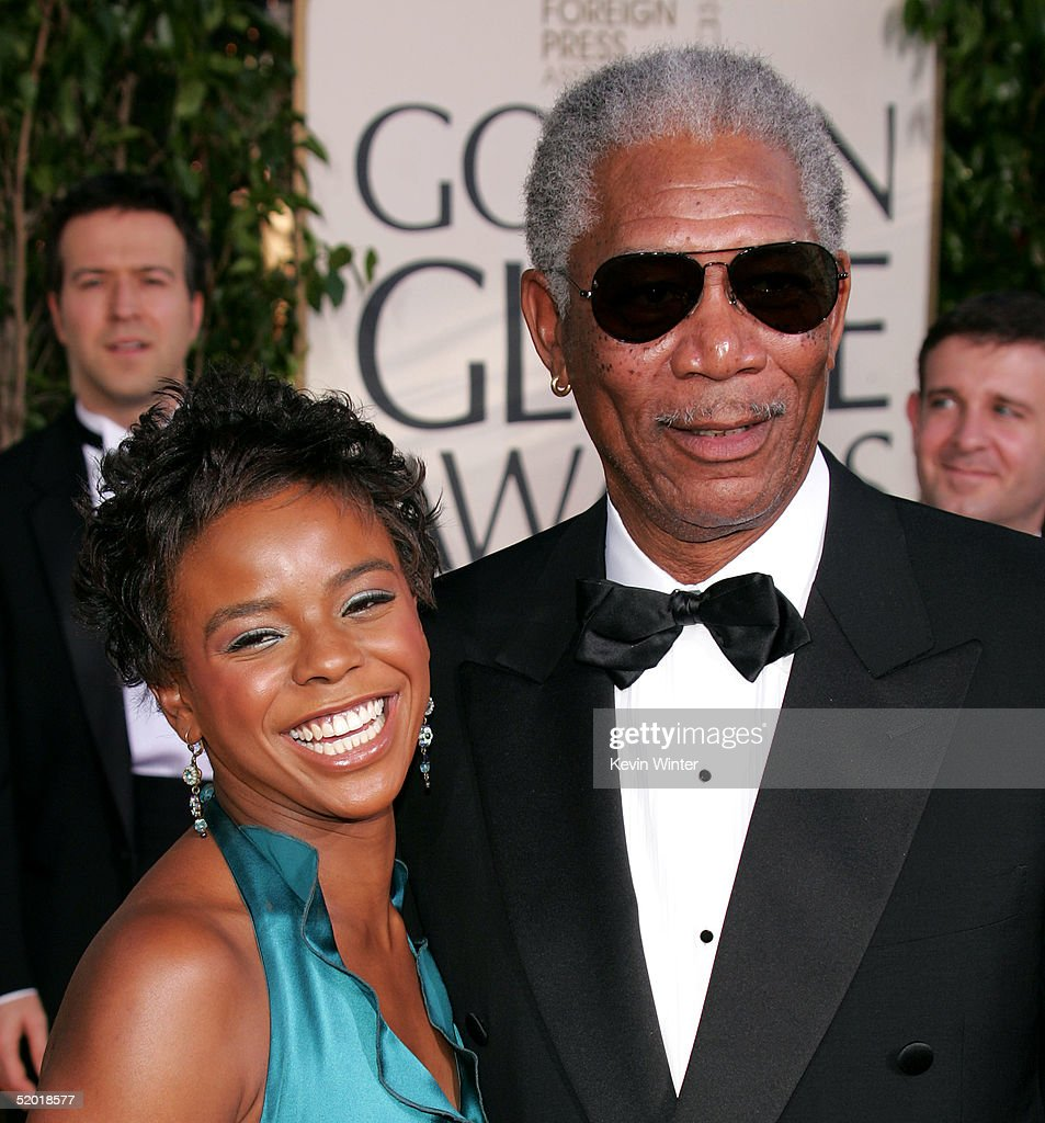 Actor Morgan Freeman and E'Dena Hines arrive to the 62nd Annual Golden Globe Awards at the Beverly Hilton Hotel January 16 2005 in Beverly Hills...