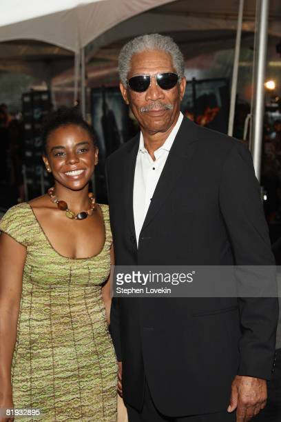 Actor Morgan Freeman and granddaughter Alexis attend the world premiere of 'The Dark Knight' at AMC Loews Lincoln Square IMAX on July 14 2008 in New...