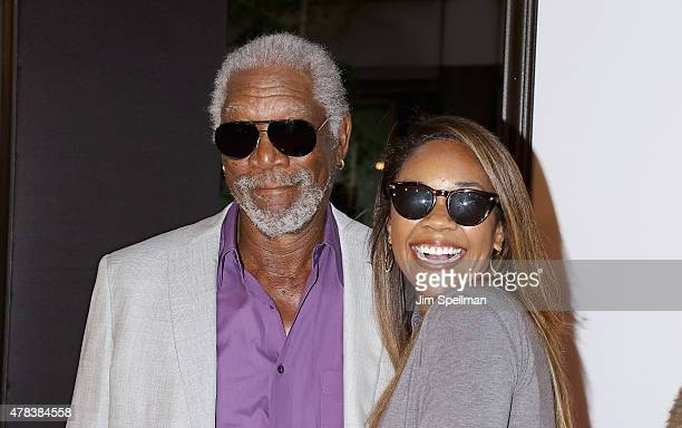Actor Morgan Freeman and granddaughter Alexis Freeman attends the 'Ted 2' New York premiere at Ziegfeld Theater on June 24 2015 in New York City