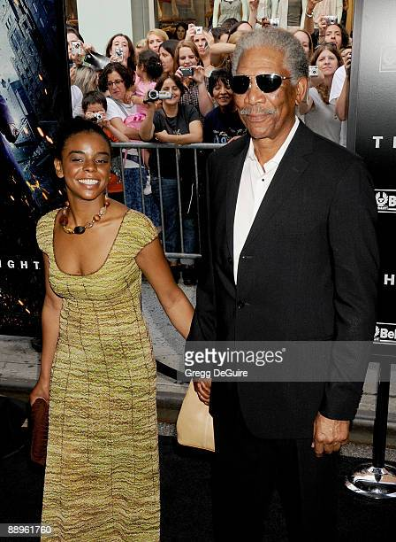 Actor Morgan Freeman and granddaughter Edina arrive at 'The Dark Knight' premiere at the AMC Loews Lincoln Square theater on July 14 2008 in New York...