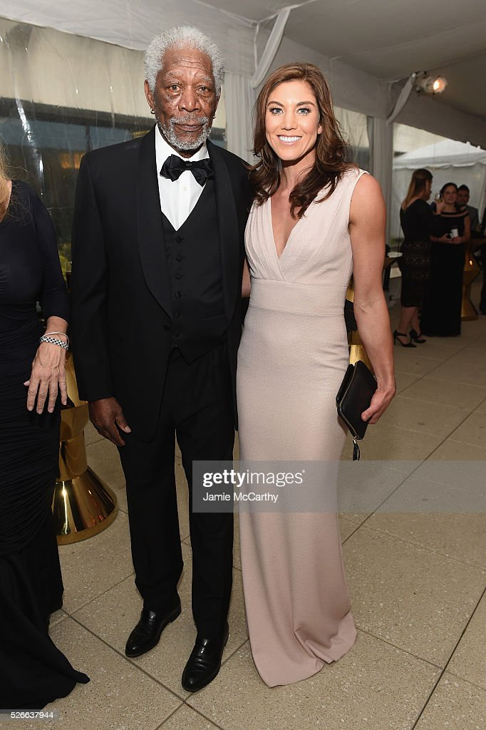 Actor Morgan Freeman and Hope Solo attend the tlantic Media's 2016 White House Correspondents' Association Pre-Dinner Reception at Washington Hilton on April 30, 2016 in Washington, DC.