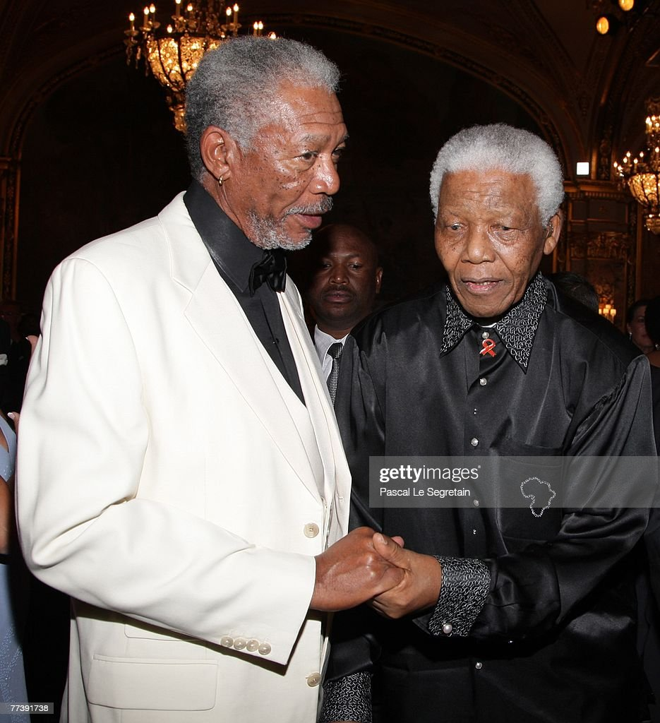 Actor Morgan Freeman and Nelson Mandela attend the 'Unite For A Better World Gala Dinner' on September 2 2007 at the Hotel de Paris in Monte Carlo...