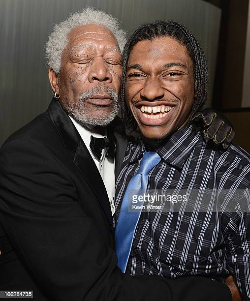 Actor Morgan Freeman and NFL player Robert Griffin III attend the after party for the premiere of Universal Pictures' 'Oblivion' at Dolby Theatre on...
