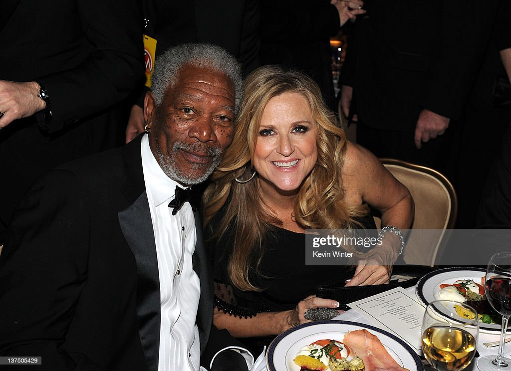 Actor Morgan Freeman (L) and producer Lori McCreary attend the 23rd annual Producers Guild Awards at The Beverly Hilton hotel on January 21, 2012 in Beverly Hills, California.