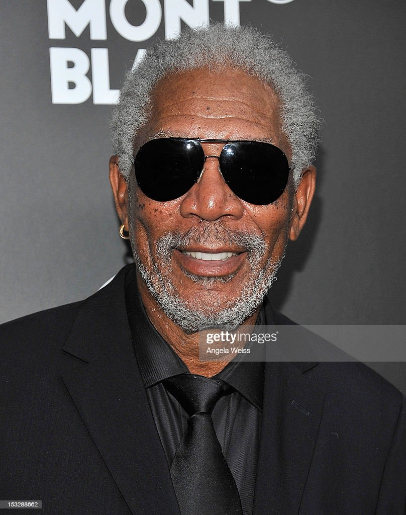 Actor <a gi-track='captionPersonalityLinkClicked' href=/galleries/search?phrase=Morgan+Freeman&family=editorial&specificpeople=169833 ng-click='$event.stopPropagation()'>Morgan Freeman</a> arrives at Montblanc's 2012 Montblanc de la Culture Arts Patronage Award Ceremony honoring Quincy Jones at Chateau Marmont on October 2, 2012 in Los Angeles, California.