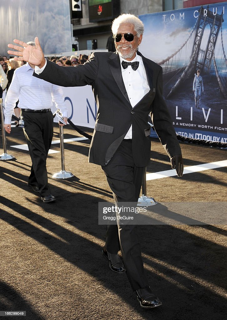 Actor <a gi-track='captionPersonalityLinkClicked' href=/galleries/search?phrase=Morgan+Freeman&family=editorial&specificpeople=169833 ng-click='$event.stopPropagation()'>Morgan Freeman</a> arrives at the Los Angeles premiere of 'Oblivion' at Dolby Theatre on April 10, 2013 in Hollywood, California.