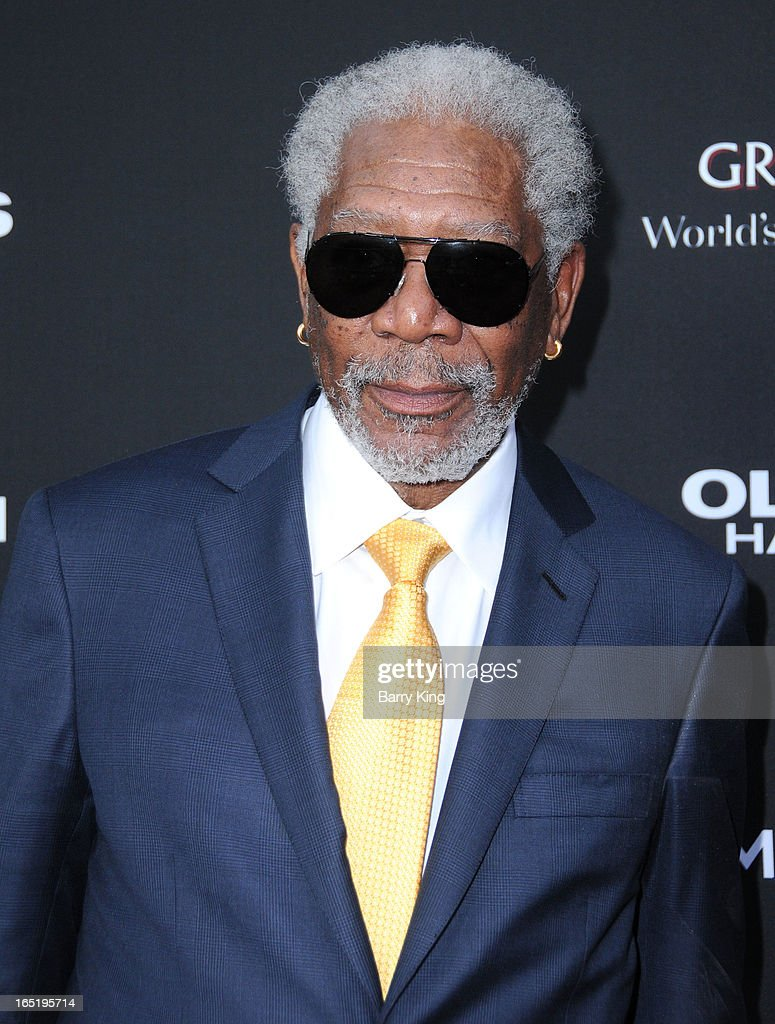 Actor <a gi-track='captionPersonalityLinkClicked' href=/galleries/search?phrase=Morgan+Freeman&family=editorial&specificpeople=169833 ng-click='$event.stopPropagation()'>Morgan Freeman</a> arrives at the Los Angeles premiere of 'Olympus Has Fallen' held at ArcLight Cinemas Cinerama Dome on March 18, 2013 in Hollywood, California.
