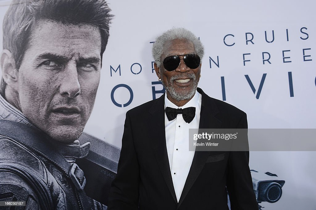 Actor <a gi-track='captionPersonalityLinkClicked' href=/galleries/search?phrase=Morgan+Freeman&family=editorial&specificpeople=169833 ng-click='$event.stopPropagation()'>Morgan Freeman</a> arrives at the premiere of Universal Pictures' 'Oblivion' at Dolby Theatre on April 10, 2013 in Hollywood, California.