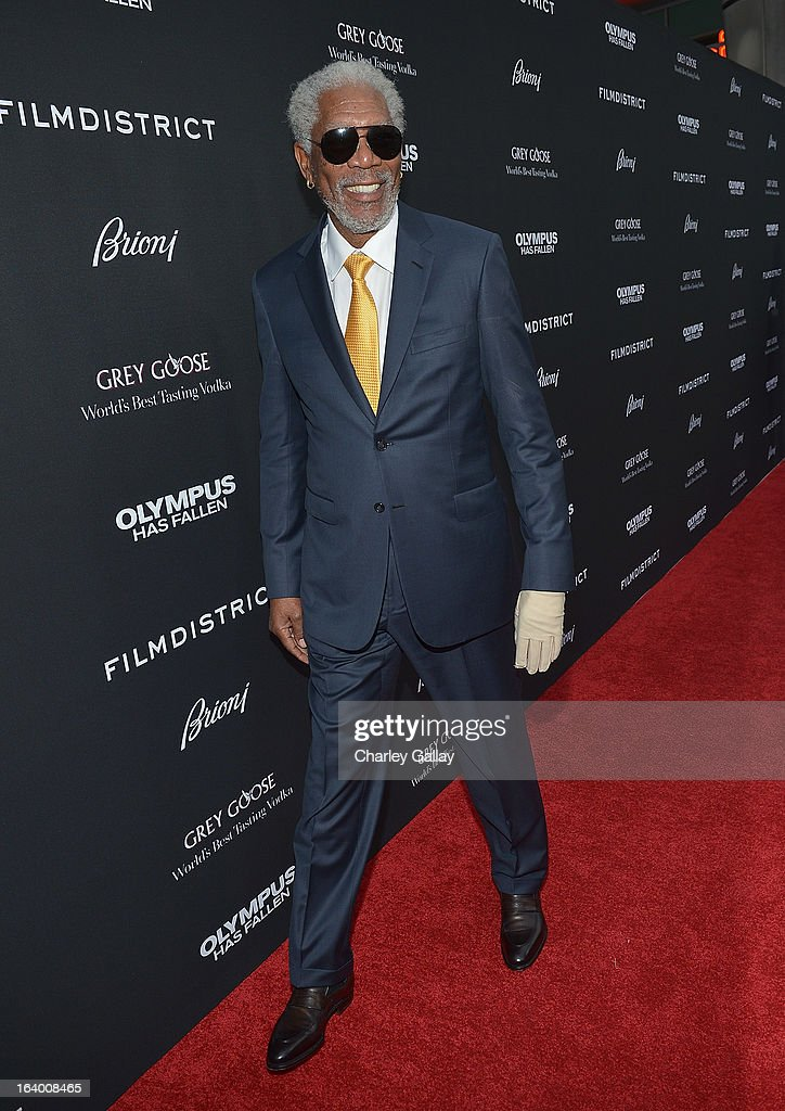 Actor <a gi-track='captionPersonalityLinkClicked' href=/galleries/search?phrase=Morgan+Freeman&family=editorial&specificpeople=169833 ng-click='$event.stopPropagation()'>Morgan Freeman</a> attends Brioni Sponsors Film District's World Premiere Of 'Olympus Has Fallen' ArcLight Cinemas on March 18, 2013 in Hollywood, California.
