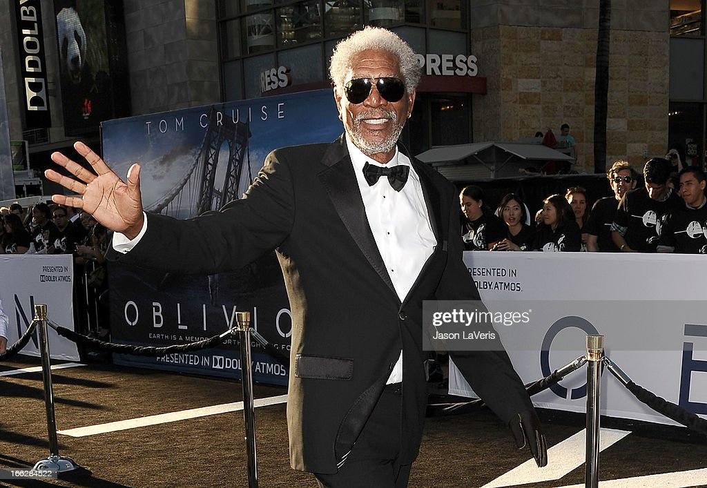 Actor <a gi-track='captionPersonalityLinkClicked' href=/galleries/search?phrase=Morgan+Freeman&family=editorial&specificpeople=169833 ng-click='$event.stopPropagation()'>Morgan Freeman</a> attends the premiere of 'Oblivion' at the Dolby Theatre on April 10, 2013 in Hollywood, California.