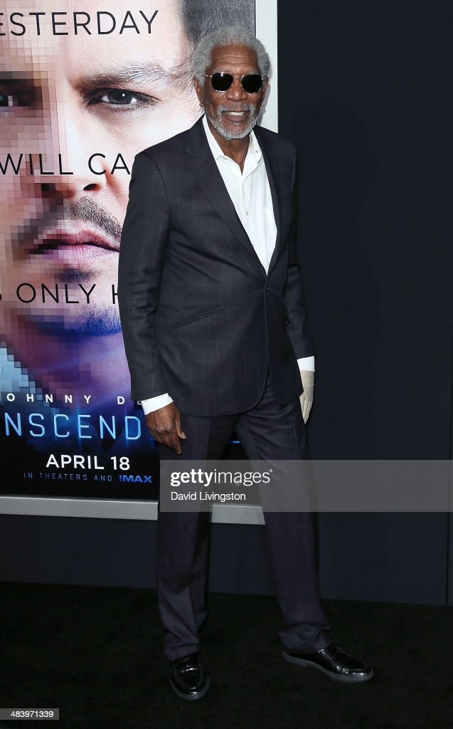 Actor <a gi-track='captionPersonalityLinkClicked' href=/galleries/search?phrase=Morgan+Freeman&family=editorial&specificpeople=169833 ng-click='$event.stopPropagation()'>Morgan Freeman</a> attends the premiere of Warner Bros. Pictures and Alcon Entertainment's 'Transcendence' at the Regency Village Theatre on April 10, 2014 in Westwood, California.