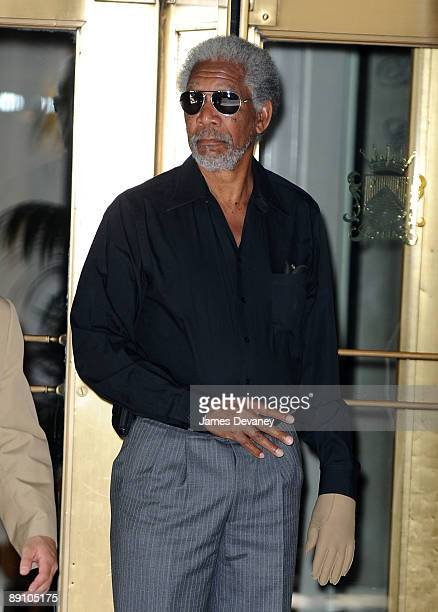Actor Morgan Freeman leaves his hotel with a glove on his paralyzed hand in Manhattan on July 18 2009 in New York City