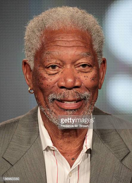 Actor Morgan Freeman of the television series 'Are We Alone' speaks during the Discovery Networks portion of the 2012 Television Critics Association...