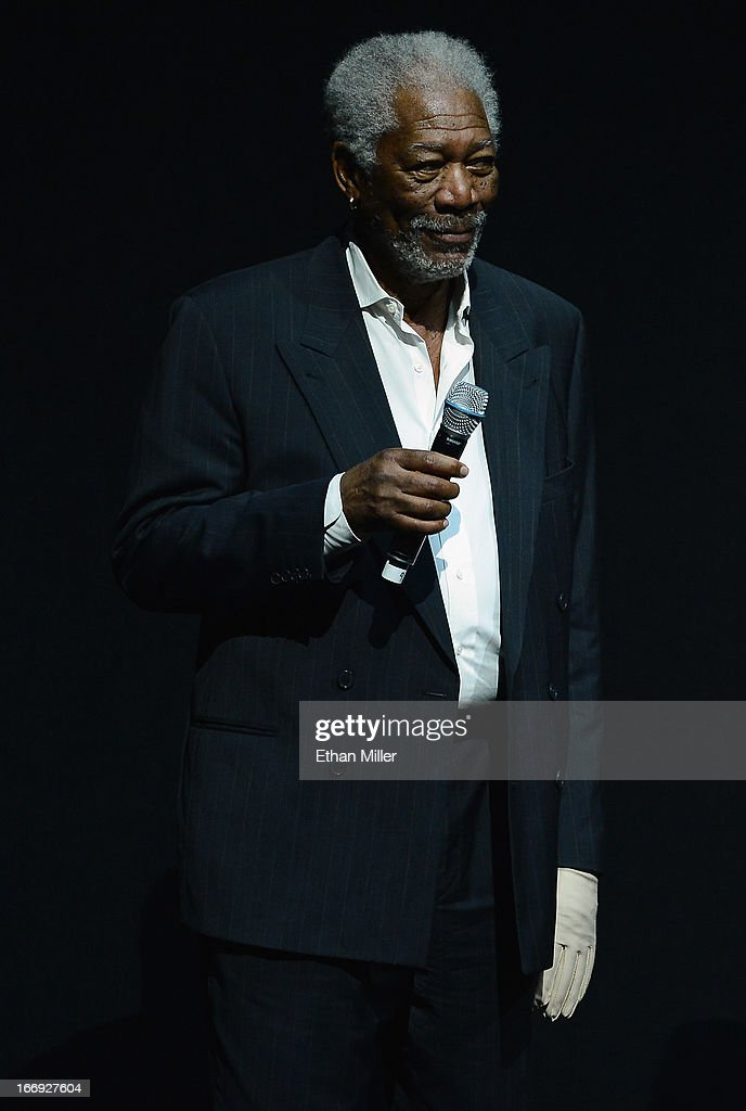 Actor <a gi-track='captionPersonalityLinkClicked' href=/galleries/search?phrase=Morgan+Freeman&family=editorial&specificpeople=169833 ng-click='$event.stopPropagation()'>Morgan Freeman</a> speaks during a Lionsgate Motion Picture Group presentation to promote the upcoming film 'Now You See Me' at The Colosseum at Caesars Palace during CinemaCon, the official convention of the National Association of Theatre Owners, on April 18, 2013 in Las Vegas, Nevada.