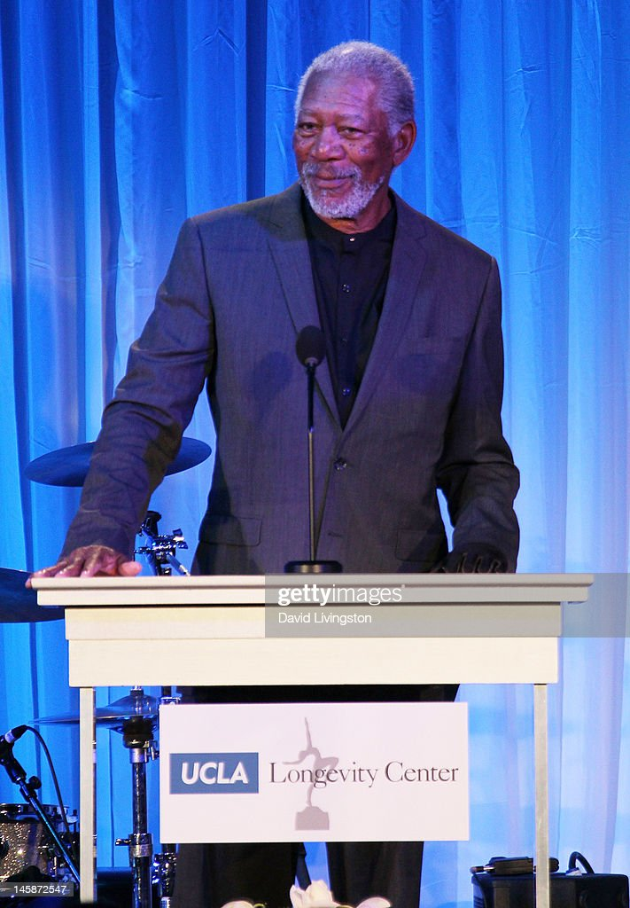 Actor <a gi-track='captionPersonalityLinkClicked' href=/galleries/search?phrase=Morgan+Freeman&family=editorial&specificpeople=169833 ng-click='$event.stopPropagation()'>Morgan Freeman</a> speaks on stage at the UCLA Longevity Center's 2012 ICON Awards at the Beverly Hills Hotel on June 6, 2012 in Beverly Hills, California.