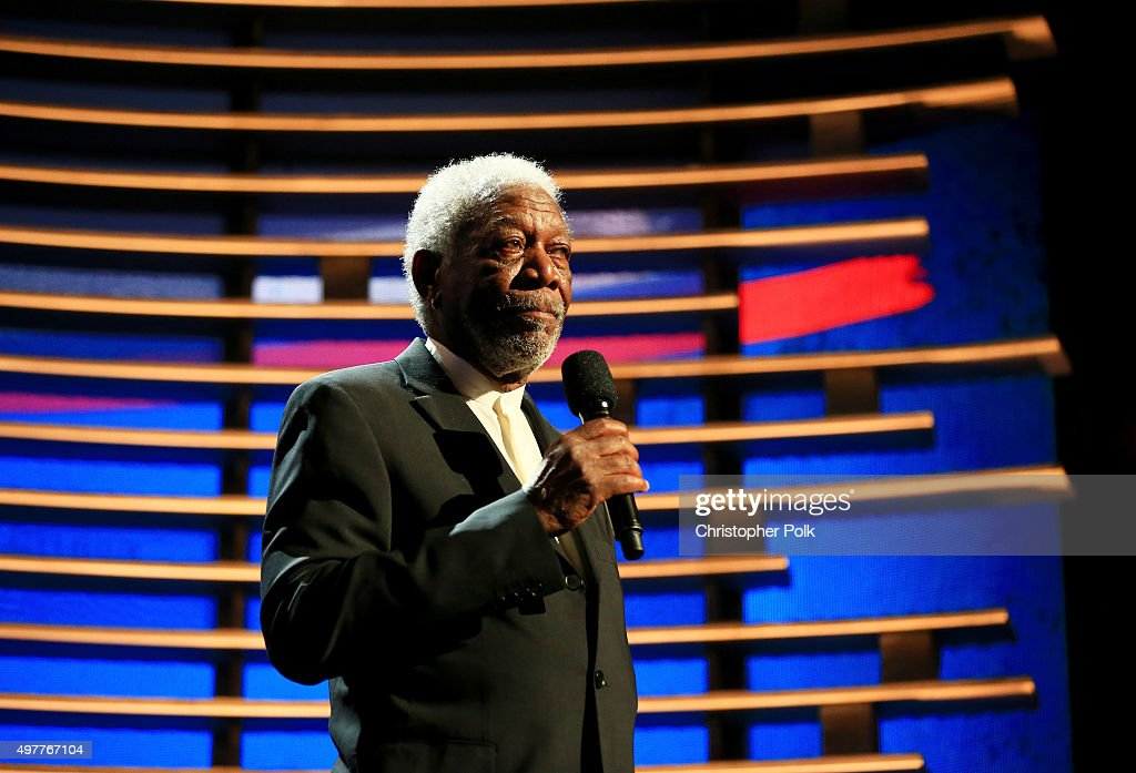 Actor Morgan Freeman speaks onstage during AE Networks 'Shining A Light' concert at The Shrine Auditorium on November 18 2015 in Los Angeles...