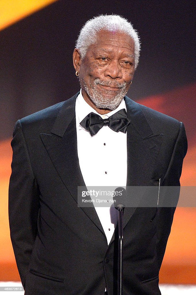 Actor Morgan Freeman speaks onstage during the 20th Annual Screen Actors Guild Awards at The Shrine Auditorium on January 18 2014 in Los Angeles...