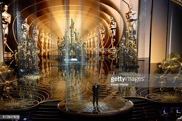 Actor Morgan Freeman speaks onstage during the 88th Annual Academy Awards at the Dolby Theatre on February 28 2016 in Hollywood California