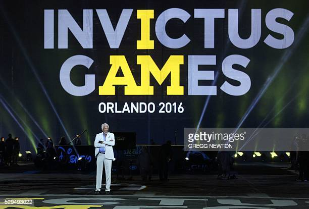 Actor Morgan Freeman stands on stage during opening ceremonies for the 2016 Invictus Games in Orlando Florida May 8 2016 The Invictus Games are an...