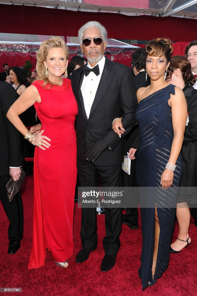 Actor Morgan Freeman (C) with producer Lori McCreary and daughter Morgana arrives at the 82nd Annual Academy Awards held at Kodak Theatre on March 7, 2010 in Hollywood, California.