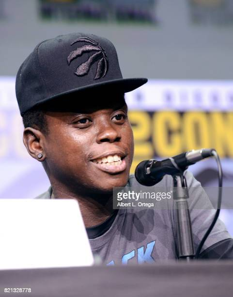 Actor Mpho Koaho at Dirk Gently's Holistic Detective Agency BBC America Official Panel during ComicCon International 2017 at San Diego Convention...