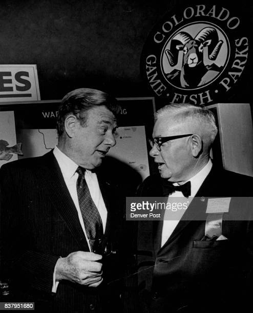 Actor Musician Stops for Chat at Convention Arthur Godfrey a past honorary president of the national Izaak Walton League confers with outgoing...