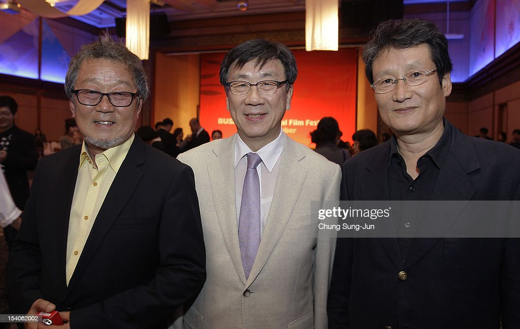 Actor Myung Gey-Nam (L) and Moon Sung-Geun attend a closing party during the 17th Busan International Film Festival (BIFF) at Grand Hotel on October 13, 2012 in Busan, South Korea. The biggest film festival in Asia showcases 304 films from 75 countries and runs from October 4-13.
