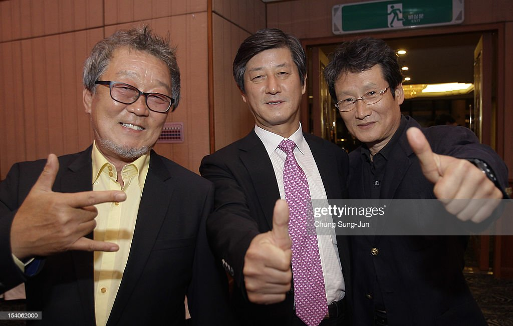 Actor Myung Gey-Nam, festival director Lee Yong-Kwan and actor Moon Sung-Geun attend a closing party during the 17th Busan International Film Festival (BIFF) at Grand Hotel on October 13, 2012 in Busan, South Korea. The biggest film festival in Asia showcases 304 films from 75 countries and runs from October 4-13.