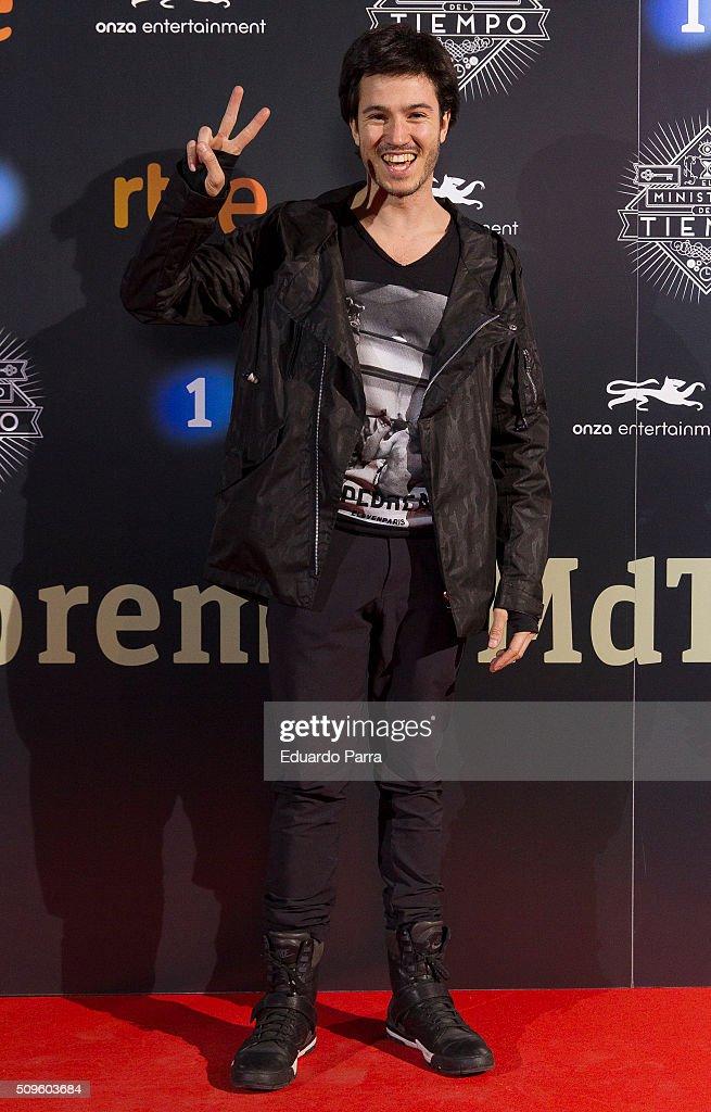 Actor Nacho Aldeguer attends 'El Ministerio del Tiempo' second season premiere at Capitol cinema on February 11, 2016 in Madrid, Spain.