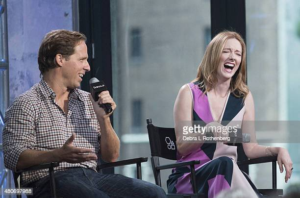 Actor Nat Faxon and Actress Judy Greer speak at the AOL Build Speaker Series at AOL Studios In New York on July 14 2015 in New York City