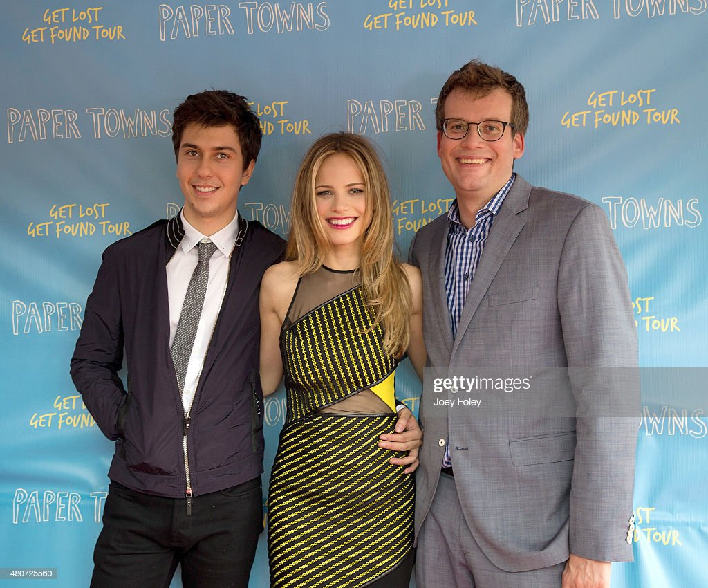 Actor Nat Wolff actress Halston Sage and author John Green pose during the Get Lost Get Found Tour for 'Paper Towns' Movie at Old National Centre on...