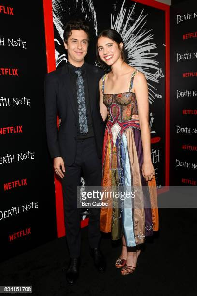 Actor Nat Wolff and actress Margaret Qualley attend the 'Death Note' New York premiere at AMC Loews Lincoln Square 13 theater on August 17 2017 in...