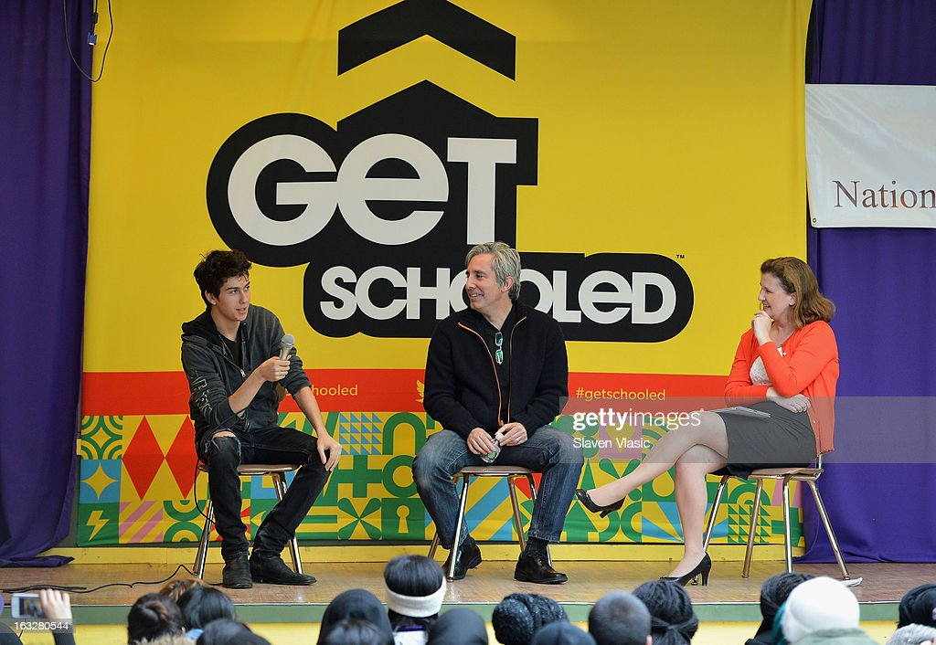 Actor Nat Wolff, director Paul Weitz and moderator/founder and executive director of National College Advising Group Nicole Farmer Hurd attend a sneak peek preview screening of 'Admission' at Vilidus Prep on March 6, 2013 in the Bronx borough of New York City.
