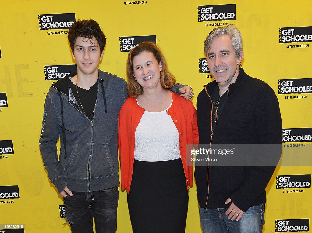 Actor Nat Wolff, moderator/founder and executive director of National College Advising Group Nicole Farmer Hurd and director Paul Weitz attend a sneak peek preview screening of 'Admission' at Vilidus Prep on March 6, 2013 in the Bronx borough of New York City.