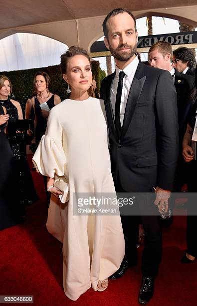Actor Natalie Portman and choreographer Benjamin Millepied attend The 23rd Annual Screen Actors Guild Awards at The Shrine Auditorium on January 29...