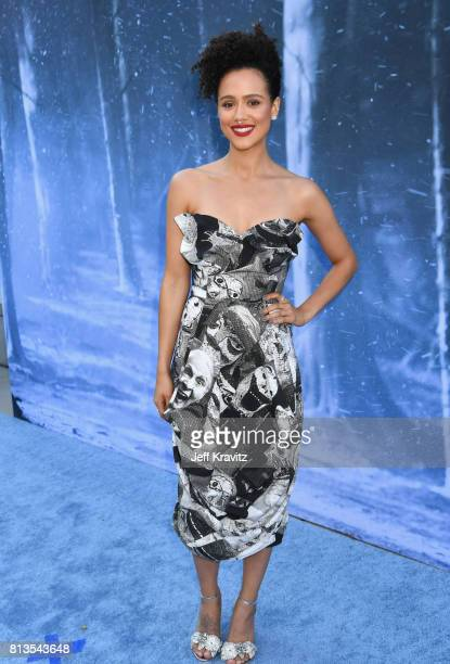 Actor Nathalie Emmanuel at the Los Angeles Premiere for the seventh season of HBO's 'Game Of Thrones' at Walt Disney Concert Hall on July 12 2017 in...