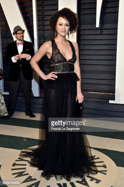 Actor Nathalie Emmanuel attends the 2017 Vanity Fair Oscar Party hosted by Graydon Carter at Wallis Annenberg Center for the Performing Arts on...