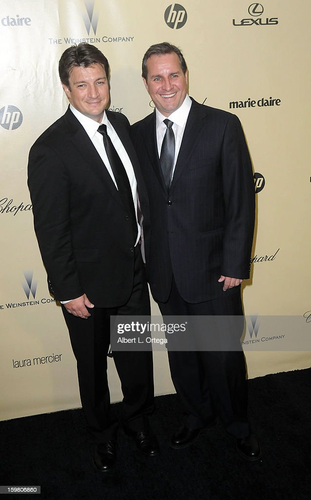 Actor Nathan Fillion and brother Jeff Fillion arrive for the Weinstein Company's 2013 Golden Globe Awards After Party - Arrivals on January 13, 2013 in Beverly Hills, California.