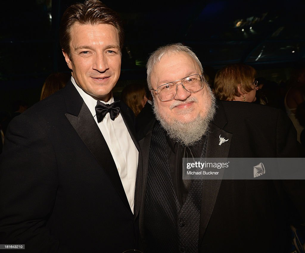 Actor <a gi-track='captionPersonalityLinkClicked' href=/galleries/search?phrase=Nathan+Fillion&family=editorial&specificpeople=834463 ng-click='$event.stopPropagation()'>Nathan Fillion</a> (L) and writer George R. R. Martin attend HBO's Annual Primetime Emmy Awards Post Award Reception at The Plaza at the Pacific Design Center on September 22, 2013 in Los Angeles, California.