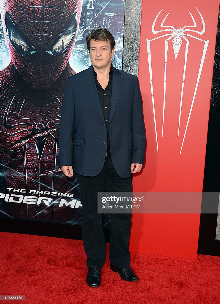 Actor <a gi-track='captionPersonalityLinkClicked' href=/galleries/search?phrase=Nathan+Fillion&family=editorial&specificpeople=834463 ng-click='$event.stopPropagation()'>Nathan Fillion</a> arrives at the premiere of Columbia Pictures' 'The Amazing Spider-Man' at the Regency Village Theatre on June 28, 2012 in Westwood, California.