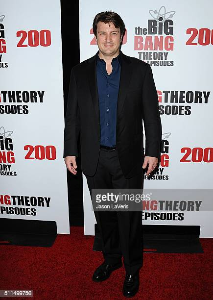 Actor Nathan Fillion attends 'The Big Bang Theory' 200th episode celebration at Vibiana on February 20 2016 in Los Angeles California