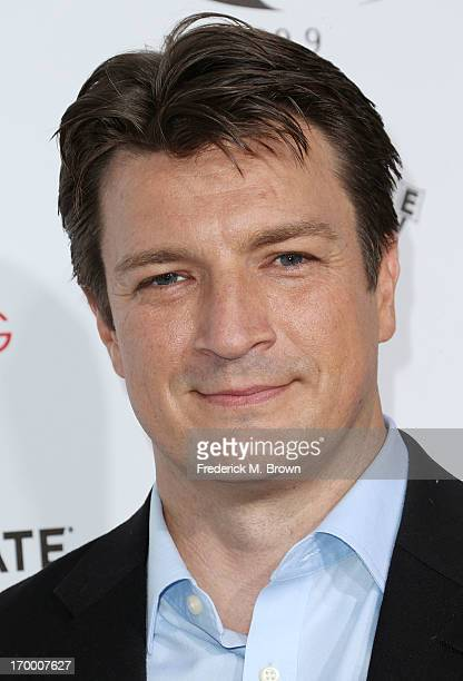 Actor Nathan Fillion attends the screening of Lionsgate and Roadside Attractions' 'Much Ado About Nothing' at Oscar's Outdoors Hollywood theater on...