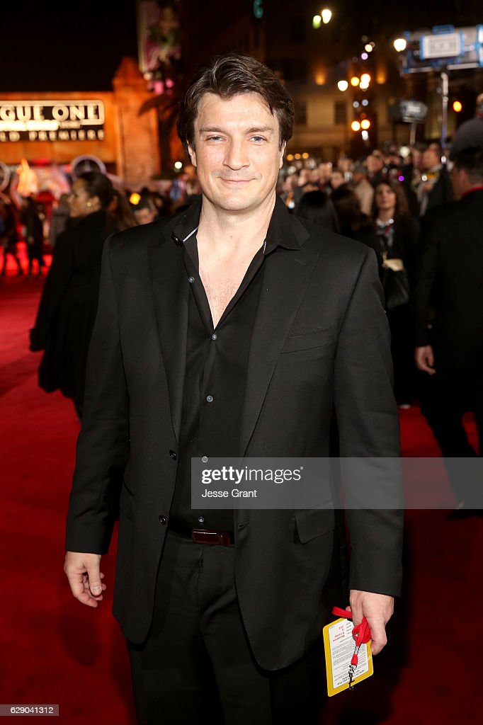 Actor Nathan Fillion attends The World Premiere of Lucasfilm's highly anticipated, first-ever, standalone Star Wars adventure, 'Rogue One: A Star Wars Story' at the Pantages Theatre on December 10, 2016 in Hollywood, California.