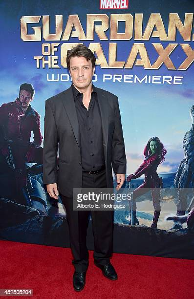 "Actor Nathan Fillion attends The World Premiere of Marvel's epic space adventure ""Guardians of the Galaxy"" directed by James Gunn and presented in..."