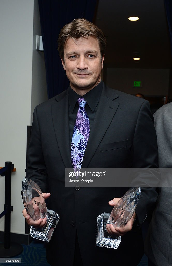 Actor Nathan Fillion backstage at the 39th Annual People's Choice Awards at Nokia Theatre L.A. Live on January 9, 2013 in Los Angeles, California.